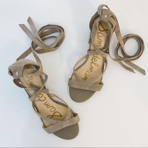 Sam Edelman Sheri Low Heel Suede Tie Wrap Sandals